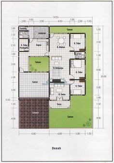 desain denah rumah minimalis 1 lantai 3 kamar tidur in