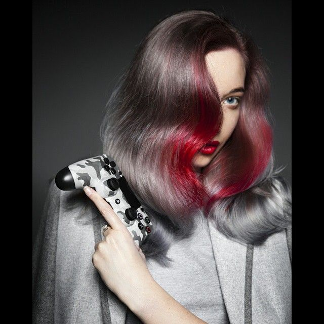 Breathtaking platinum gray with blood red hair color accent. Hair by Cameron LeSiege. Photographer and model: Daryna Barykina #hotonbeauty fb.com/hotbeautymagazine