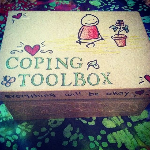 My Coping Toolbox! Filled with coping objects, items, photos, etc. for self care when ED behaviors strike.