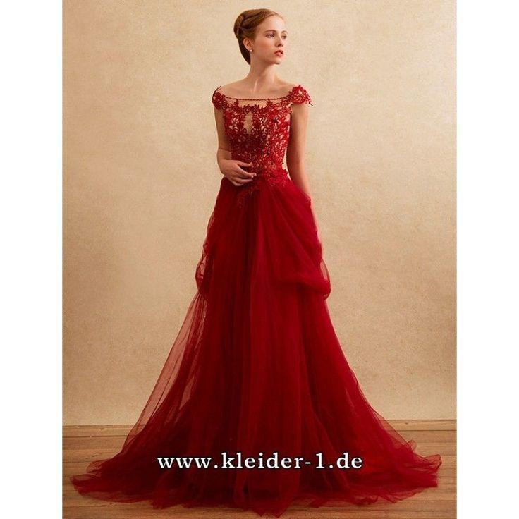 Schulterfreies Abendkleid 2019 Adamira in Rot mit Tüll und Spitze #abendkleider…