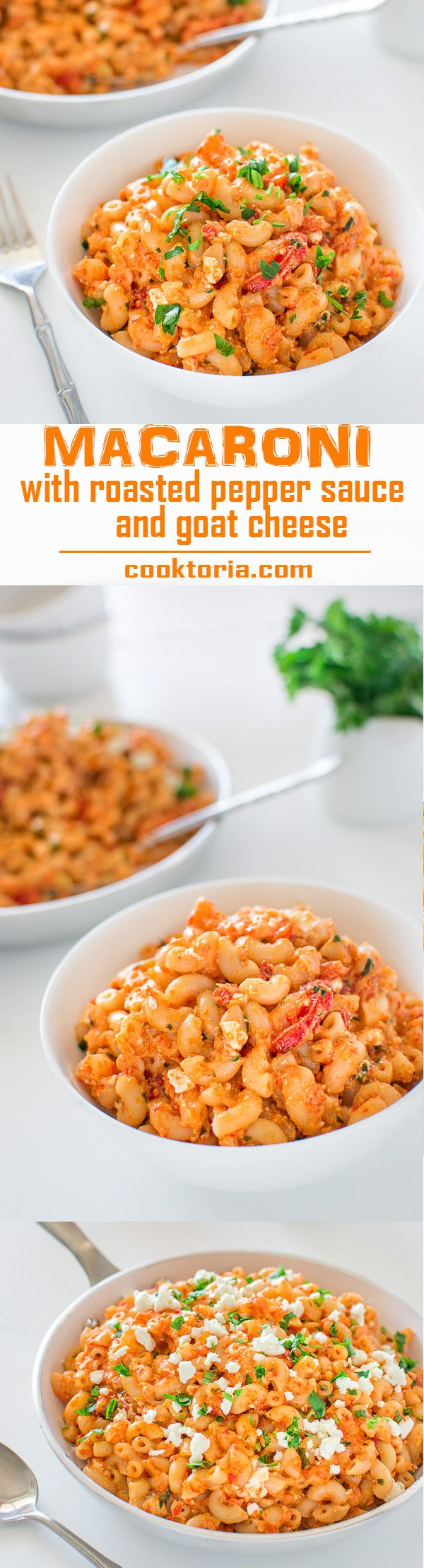 This tasty macaroni in colorful, homemade roasted pepper sauce and creamy goat cheese, makes a quick and healthy vegetarian dinner! ❤ COOKTORIA.COM