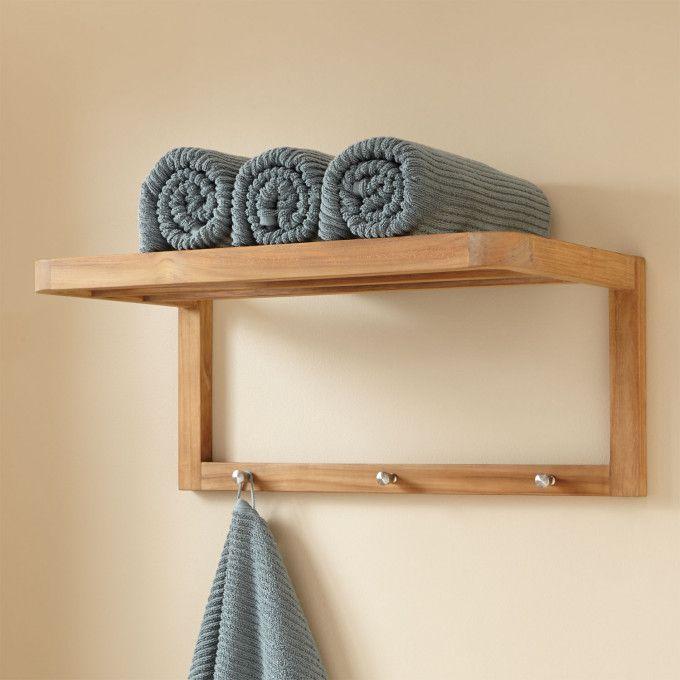 Teak Towel Shelf With Hooks Teak Bathroom Shelf Bathroom Wall Shelves Bathroom Towel Storage