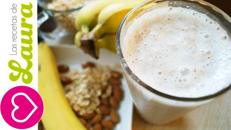 Desayuno Saludable Batido de plátano con almendras y Avena♥Recetas Salud...
