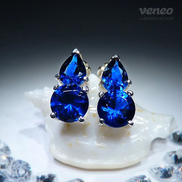 Audrey. Silver or Gold Sapphire Earrings all sizes by Veneo, $66.00