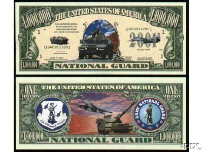 US NATIONAL GUARD MILLION DOLLAR BILL (w/protector) by AAC. $2.49. US NATIONAL GUARD MILLION DOLLAR BILL