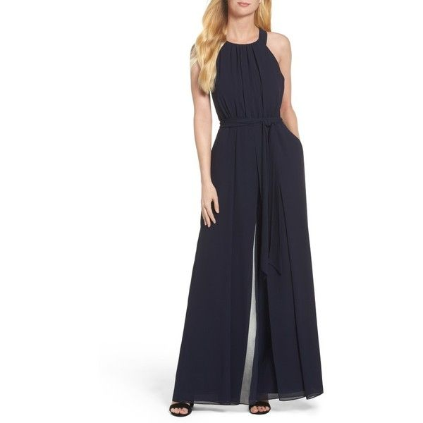 Women's Vince Camuto Chiffon Jumpsuit (1.972.100 IDR) ❤ liked on Polyvore featuring jumpsuits, navy, vince camuto jumpsuit, jump suit, navy blue jumpsuit, wide leg jumpsuits and wide leg chiffon jumpsuits
