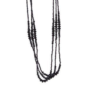 """Vintage Midnight Black Sparkly Beaded Necklace Jewelry (Very Long - 37"""")"""