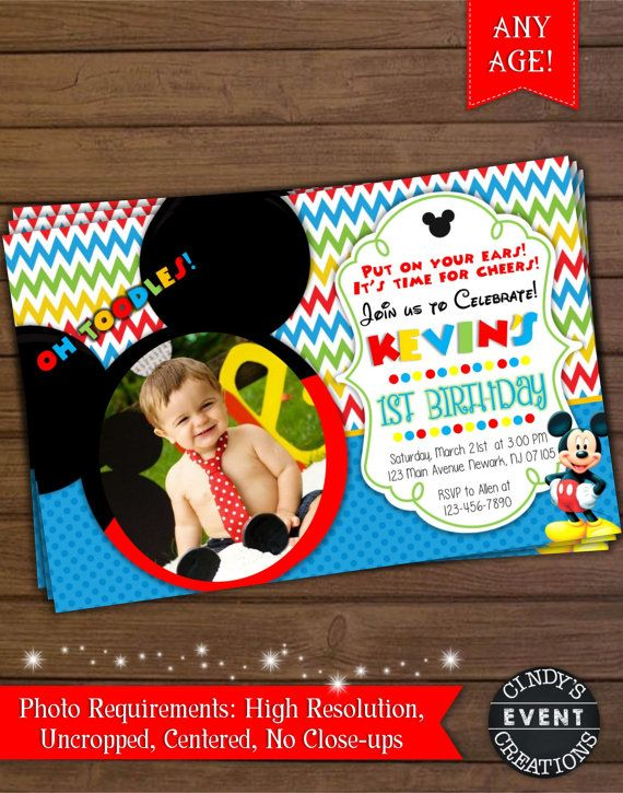 Mickey Mouse Birthday Invitation by CindysEventCreations on Etsy