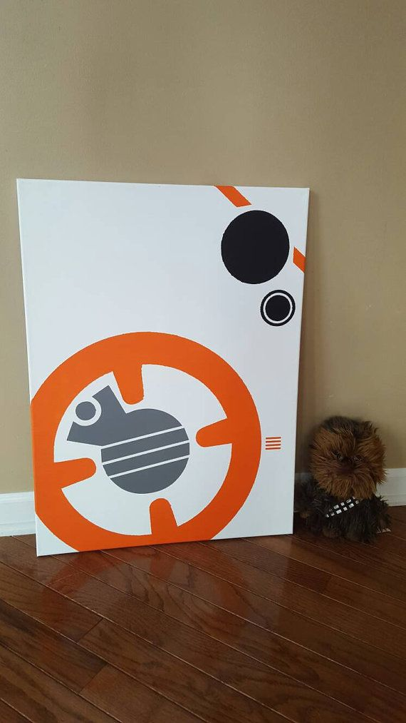 Check out this item at Etsy shop https://www.etsy.com/listing/264837562/star-wars-bb-8-canvas-painting