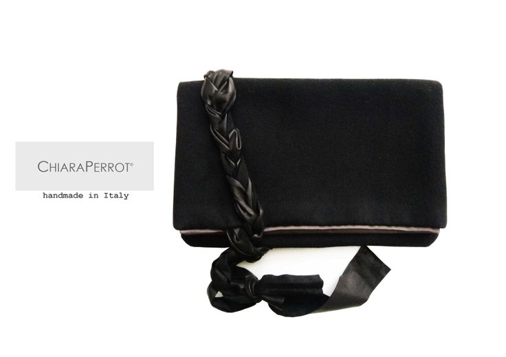 Pochette__tre13 wool rag & leather Handmade in Italy