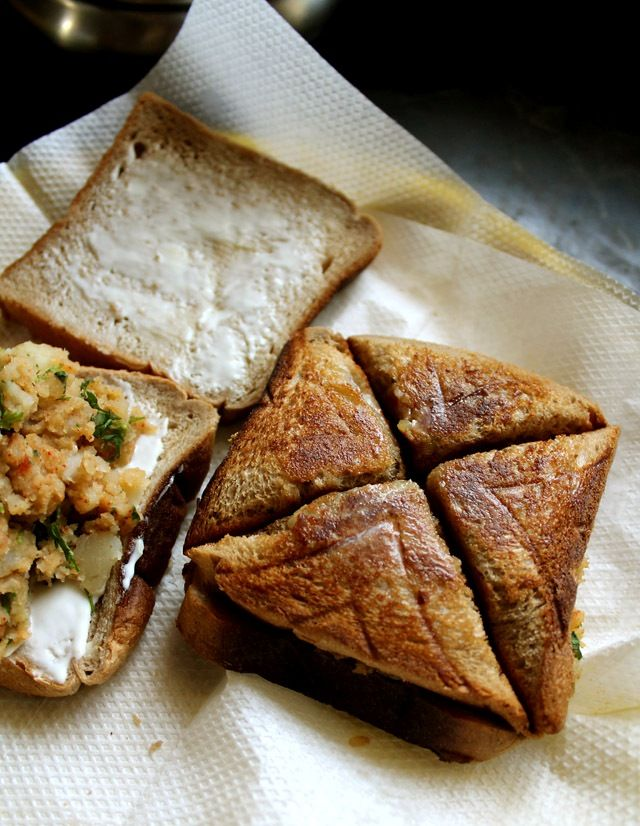 chaat-style potato sandwich-recipe.     12 slices of brown bread or white bread     4-5 medium size potatoes, boiled, peeled and mashed     1 tsp chaat masala     1 tsp red chili powder     1 tsp cumin powder/jeera powder     ½ cup chopped coriander leaves     2 cups grated cheese or 6 cheese slices or cheese spread     butter for the sandwich (optional)     any veggie slices of your choice (optional)     salt or black salt to taste