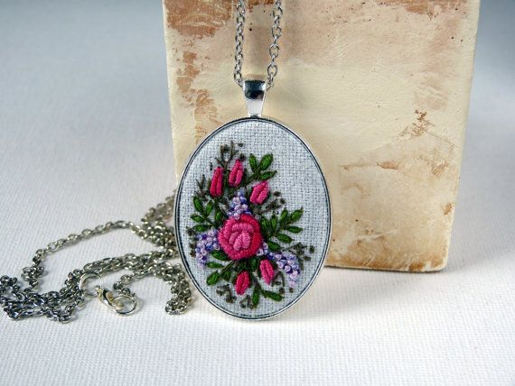Roses necklace. Hand embroidered pendant. by EmbroideredJewerly