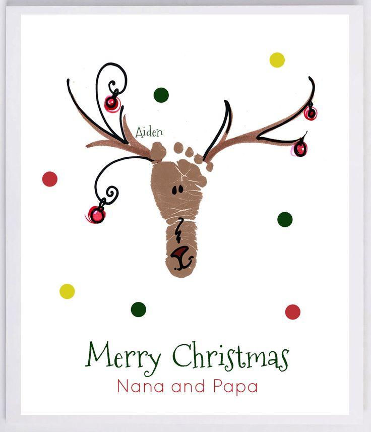 Reindeer Footprint Wall Art - your child's actual prints! grandpa and grandpa christmas gift, baby's first christmas, footprint kit 306B-pap by MyForeverPrints on Etsy https://www.etsy.com/listing/210021149/reindeer-footprint-wall-art-your-childs