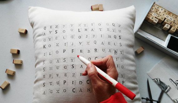 This pillow is an amazing and personalized gift for you & yours.Is a gift with which you can play and send a message. Create your own and unic pillow, use one to twelve words,your affectionate words, the words that your friend always uses... what you want to say!!!!! I will write it for you and you play!!!!!   SIZE: 45x45 cm- 18x18 with zipper. FABRIC: cotton PRINT:printed letters stamps. Pillow cover with zipper.  Pillow inserts are not included. Wash in cold water, hand wash is ok.  Thi...