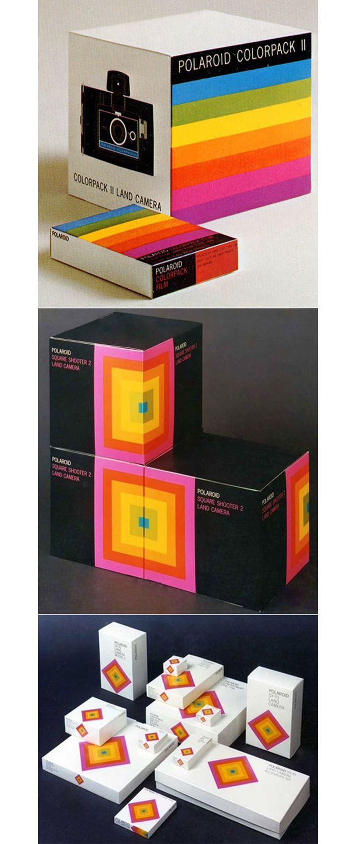 in LOVE w/ these vintage retro Polaroid boxes #packaging PD