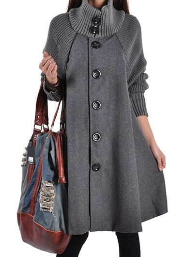 Grey Button Front Swing Coat. $6 Off Over $45, 8 Off Over $55, Coupon Code: Halloween11, End Date: 10/31