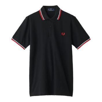 <フレッドペリー>ライン入りポロシャツ/ブラック/レッド/42| ANAショッピング A-style