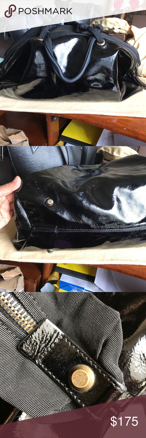 LANVIN patent leather Bowling bag. Authentic 🖤 Gorgeous bag. Selling cheap because it has a defect. 1 of the side studs came off. The bag can still be carried but is missing the stud that attached that one side and gives it its bowling bag shape. Very clean I side. Patent leather shows some stains and light scratches. Authentic LANVIN and great price given its condition. ❌NO BOX, No dustbag❌ Lanvin Bags Shoulder Bags