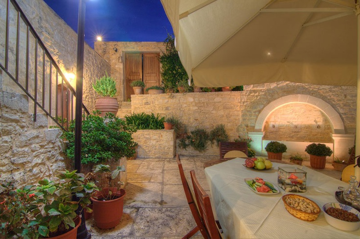 www.allaria.gr Villa Allaria Crete #villa #crete #greece #vacation_rental #luxury #private #holidays #summer_in_crete #island  #dining_area #outdoors #night_time #garden