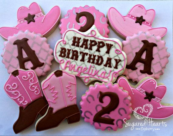 Cowgirl Birthday Cookies by SugaredHeartsBakery on Etsy