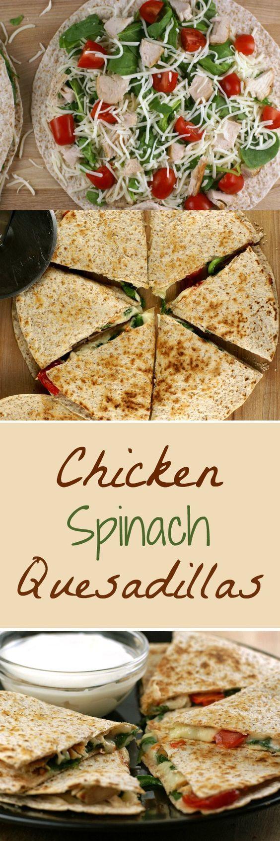 Chicken and Spinach Quesadillas   5DollarDinners.com
