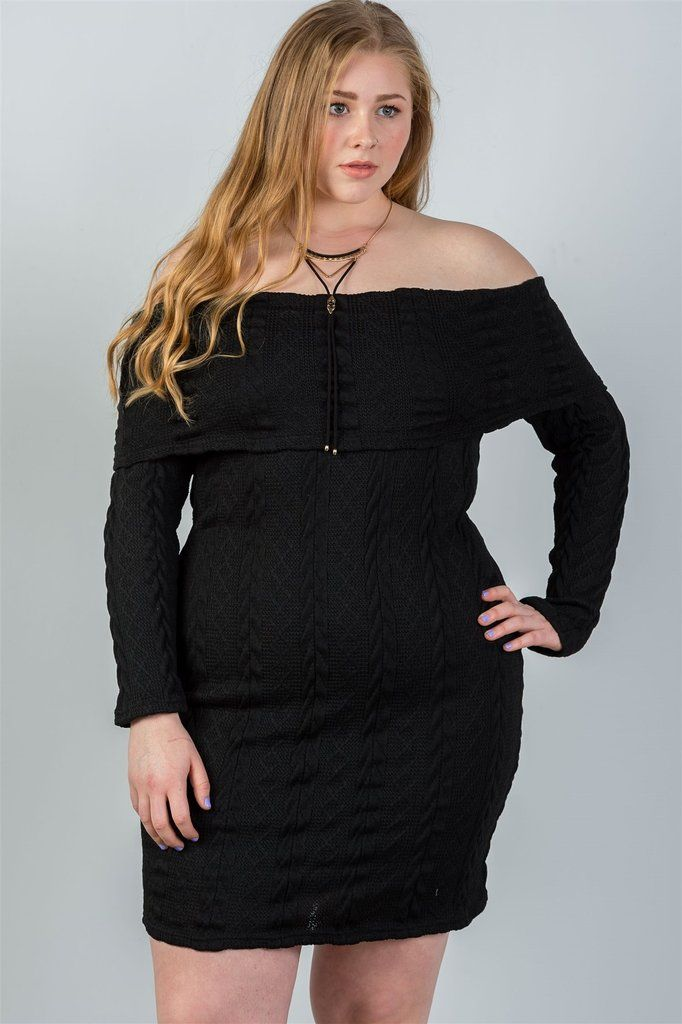 48ad8dbe0ad Ladies fashion plus size off the shoulder black ribbed long sleeve bodycon  sweater dress