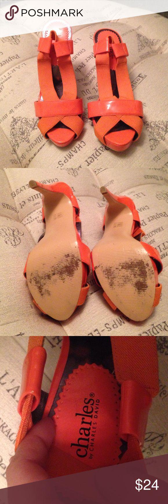Charles David Orange heels size 7 Like new orange Charles David heels size 7. One small imperfection on heel. Charles David Shoes Heels