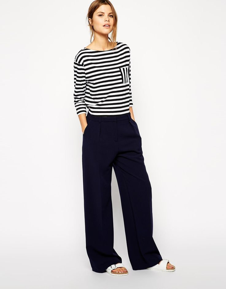 Image 1 ofASOS Wide Leg Trousers with Piping