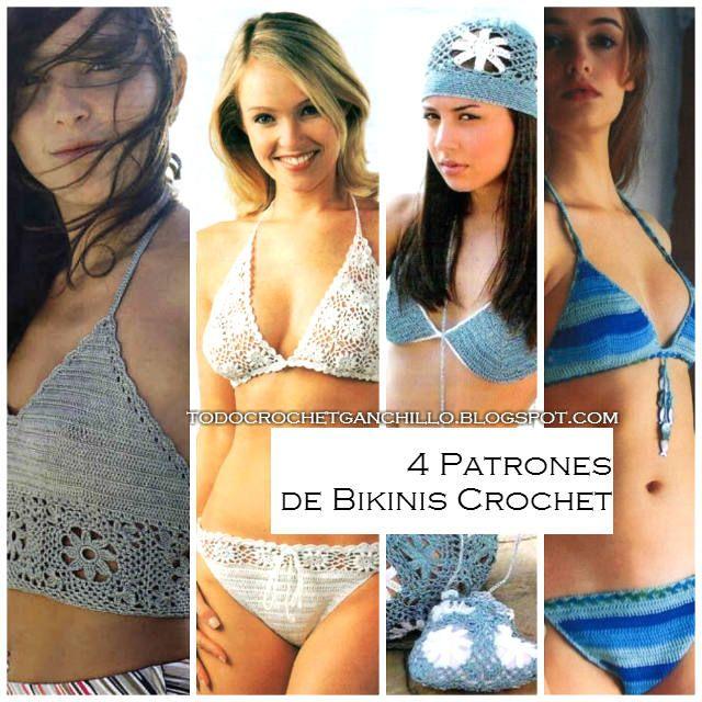 Patrones de bikinis para tejer con ganchillo. 4 patrones gratis para descargar. Archivos pdf