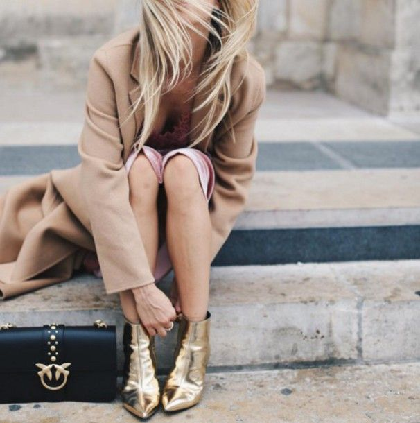 Shoes: tumblr metallic metallic boots gold ankle boots pointed boots bag black bag coat camel camel