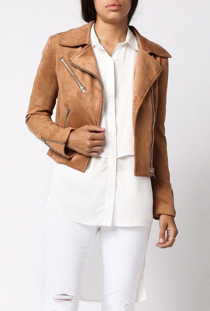 Azalea Faux Suede Camel Moto Jacket ($129)