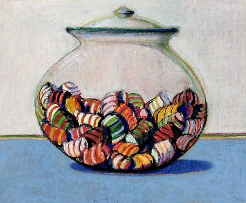 Wayne Thiebaud- Glassed Candy (1969) http://stilllifequickheart.tumblr.com/post/26280101442/wayne-thiebaud-glassed-candy-1969