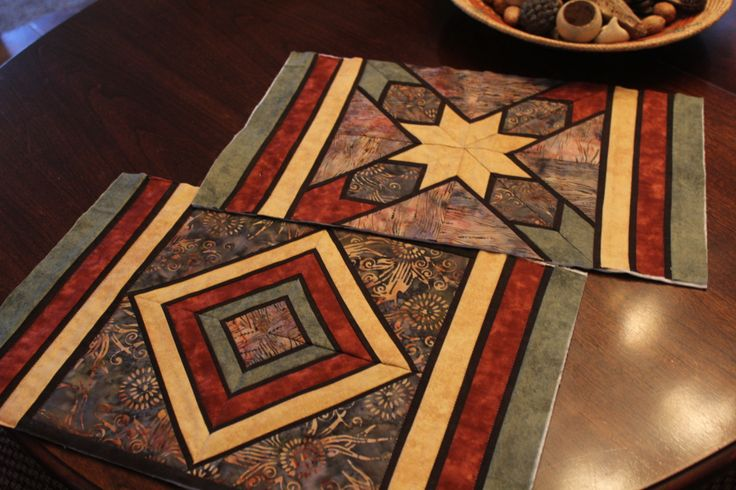 """Unfinished """"stained glass"""" quilted placemats"""