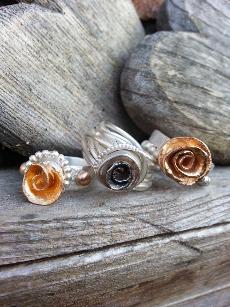 Idylliz; Roos ringen, zilver met goud.