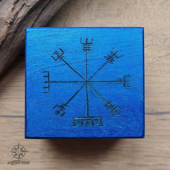 Vegvisir box Viking wooden box Nordic runes chest Viking