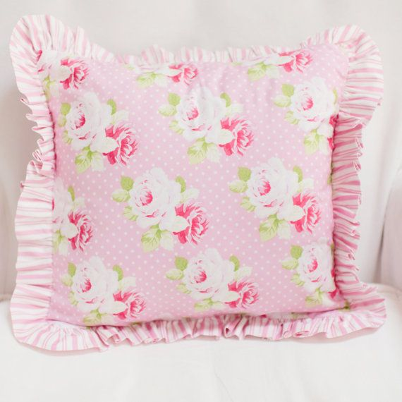 Pink and White Rose Floral Nursery Throw by ThreeWishesBeddingCo