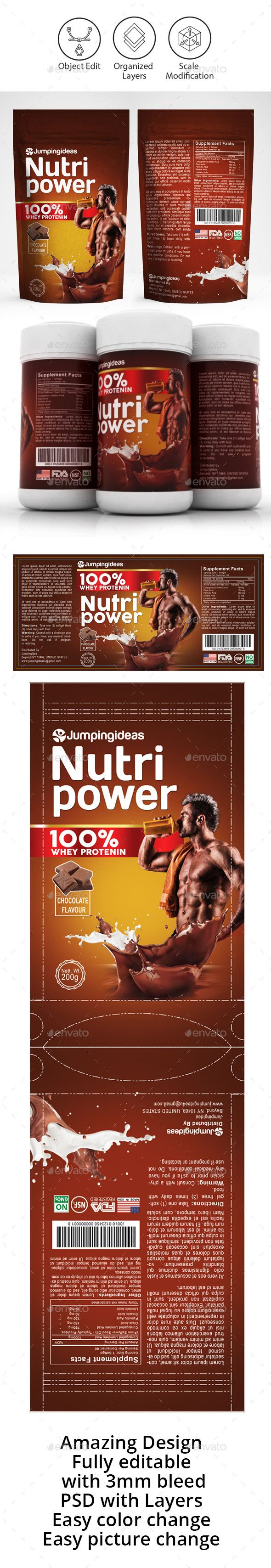 Protein Shake Label Design Template - Packaging Print Templates PSD. Download here: https://graphicriver.net/item/protein-shake-label-template/17034607?s_rank=56&ref=yinkira