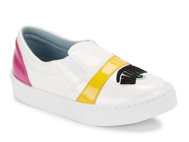 Chiara Ferragni slip-ons sneakers in white Patent Leather - Italian Boutique €153
