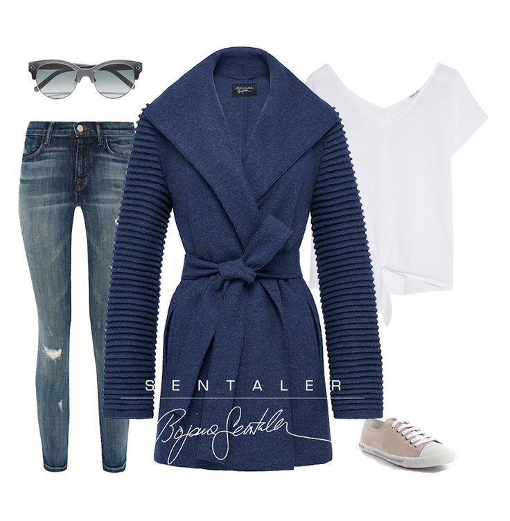 Denim Trend - Denim Wrap Coat with Ribbed Sleeves