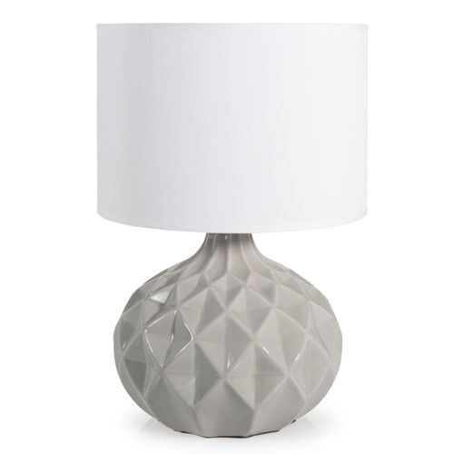 Lampada in ceramica grigia e abat-jour bianco H 44 cm THELMA