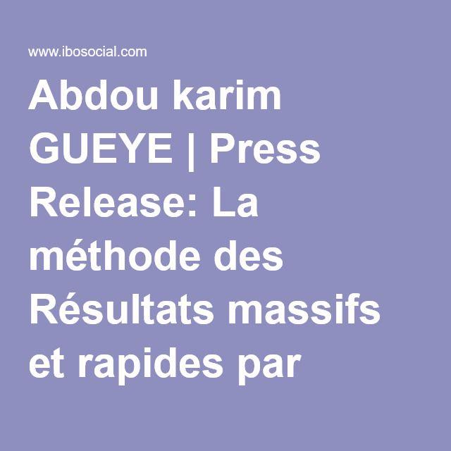 Abdou karim GUEYE | Press Release: La méthode des Résultats massifs et rapides par l'approche Centre de Responsabilités et de Performance !