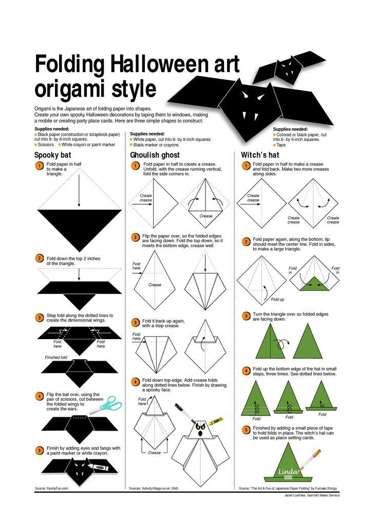 origami halloween | Folding Halloween art origami style
