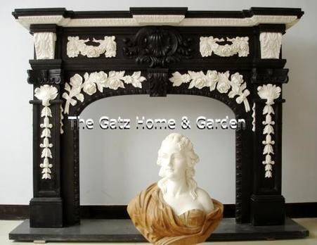 Beautiful Black & White French Design Marble Fireplace Mantel and Surround, Arched Opening #4288