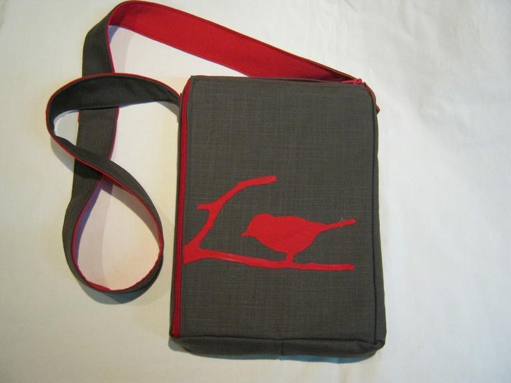 "FREE SHIPPING Handmade bag. Unique minimal style shoulder bag / pouch VSbagzzz ""Bird on a branch"" 2D zipper"