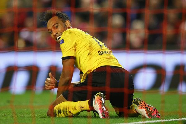 Pierre- Emerick Aubameyang Photos Photos - Pierre-Emerick Aubameyang of Borussia Dortmund reacts during the UEFA Europa League quarter final, second leg match between Liverpool and Borussia Dortmund at Anfield on April 14, 2016 in Liverpool, United Kingdom. - Liverpool v Borussia Dortmund - UEFA Europa League Quarter Final: Second Leg