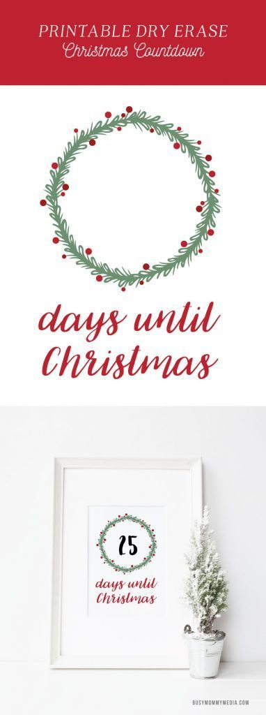 Printable Dry Erase Christmas Countdown - I love this! Print off this Christmas printable and put it in a frame. Use a dry erase marker to count down the days until Christmas. What a fun way to count down until Christmas!!