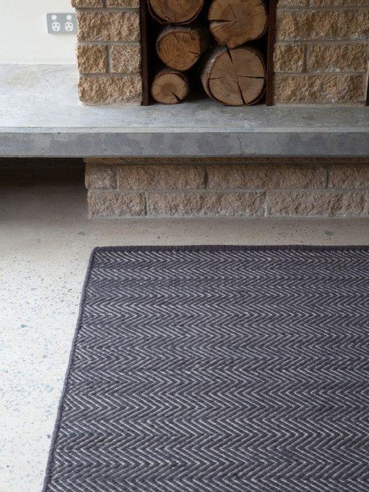 Charcoal & Limestone Herringbone - Armadillo Floor Rug - Curious Grace (1.7x2.4 $970)