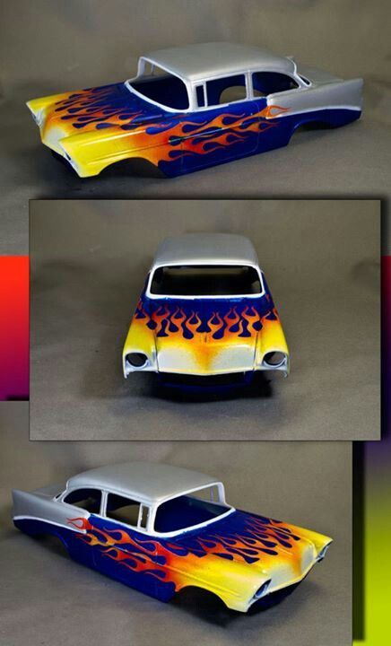 Chevy flame custom paint job on a model car models plastic you knuckleheads pinterest - Exterior paint jobs model ...
