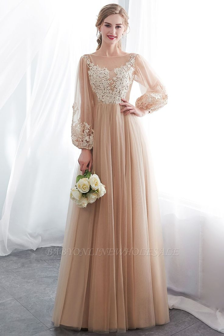 NATALIE | A-Linie Langarm Applikationen Tüll Champagner Abendkleider | www.ba …   – Gowns