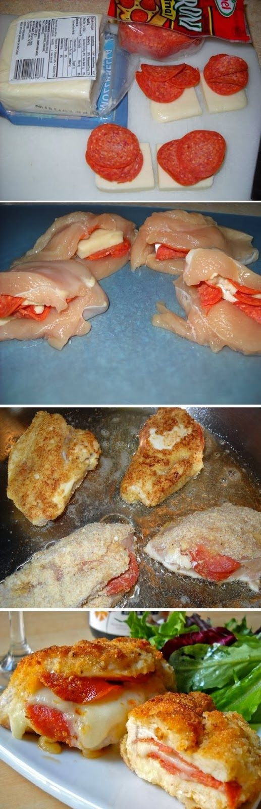 Gluten Free Pepperoni and cheese stuffed chicken breast. Use GF pepperoni, flour